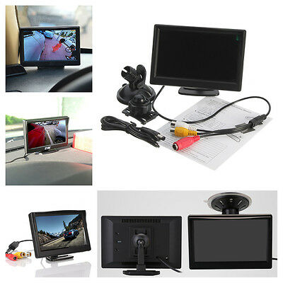 5 Inch TFT LCD Car Rear View Camera Monitor 2 Video Input With 2 Bracket Stand