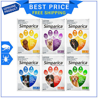 SIMPARICA for Dogs All Sizes 3 Chews Flea and Tick treatment by Zoetis