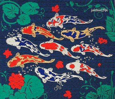 Thai Handmade Lucky Lucky 9 Carp Silk Screen Decor Make Money Art Picture Wall