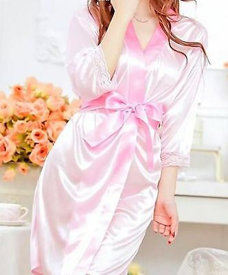 SATIN PINK KIMONO GOWN & G STRING - Bride , Bridesmaid or Bridal Shower