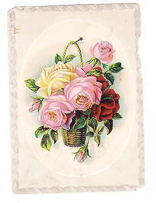 Victorian Trade Card---Lion Coffee-Rose Basket-- Different Colored Roses