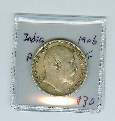 India 1906 King Edward Vii One Rupee Vf