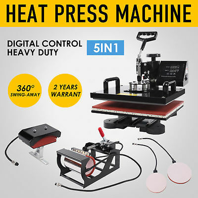 5 In 1 Swing Away Digital Heat Press Machine Sublimation T-shirt Plate Mug Hat