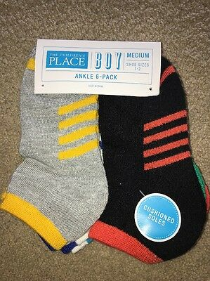 The Children's Place Boys Ankle Socks 6 Pair Pack Size Medium 1-2 NWT