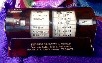 RARE Mid-century modern plastic rotating 20th century searchable analog calendar