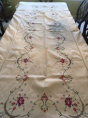 Vintage Cross Stitch Embroidery Rose flower Cotton Table Cloth Cover 12 ft long