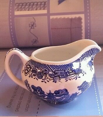 Vintage Woods Ware Creamer Willow Pattern Blue and White