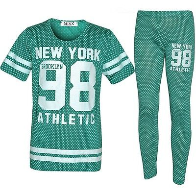 Girls New York 98 Tracksuit Baseball Top Leggings Mint Green Age 7 8 9 10 11 12