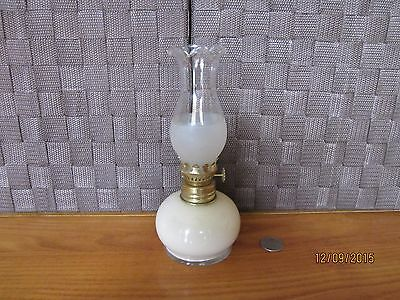 Decorative oil lamp cream color painted glass base clear frosted top design 7.5""