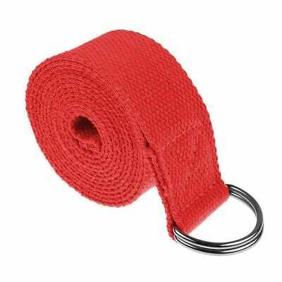 Yoga Straps Entry Level Beginners Durable Cotton Stretching Holding Poses Red