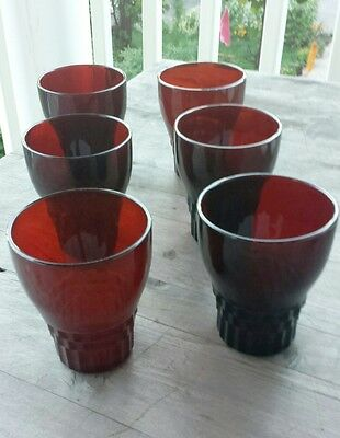 Vintage Ruby Red Pressed Glass Tumblers – Set of Six