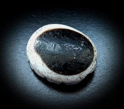 ANCIENT LARGE AGATE LUK MIK EYE or GOATS EYE DZI BEAD 1000BC – 300AD