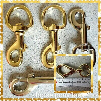 GOLD OR SILVER TRIGGER CLIP FOR LEADROPE STABLE HAYNETS ECT 90mm long 35mm eye