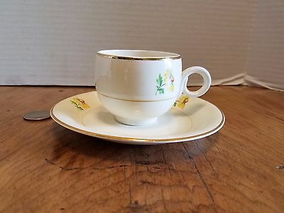 Homer Laughlin Eggshell Demitasse Cup and Saucer Yellow & White USA