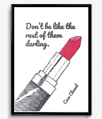 COCO CHANEL INSPIRATIONAL / MOTIVATIONAL QUOTE A4 CANVAS PRINT Gift Art