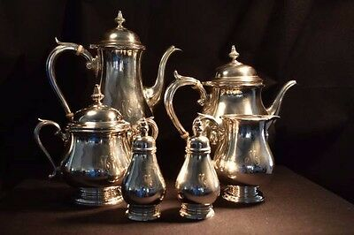 "Monogrammed ""M"" Sterling Silver Tea Set- Shreve and Company San Francisco"