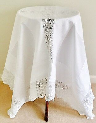 Vintage Antique White Linen & Lace Table Cloth