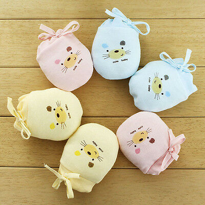 Cute Baby Gloves Cartoon Drawstring Infant Anti Scratch Mitten Newborn Handguard