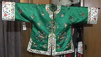 """Antique Chinese Hand Embroidery Robe Jacket Good Condition Chest 44""""Lengths 28"""""""