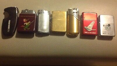 Vintage Lot Of Mixed Pocket Lighters Plus One New