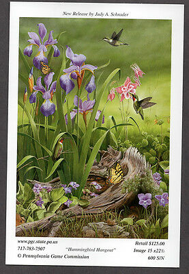Pa Pennsylvania Game Commission NEW WTFW 2006 Hummingbird Lithograph Print Card