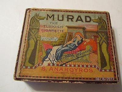 Vintage Murad The Turkish Cigarette Tin Metal Box Factory 8 New Jersey