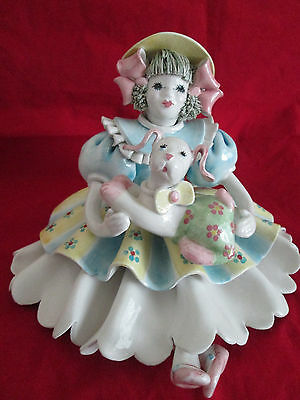 Porcelain Girl With Dog Figurine Made in Italy for Gump's of San Francisco