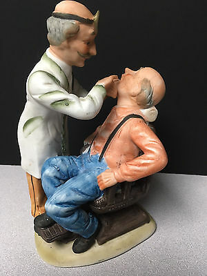 Porcelain Dentist Figurine With Patient In Chair By Crown Royal