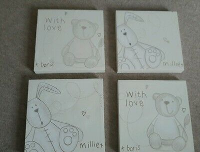 Mamas and papas millie and Boris box canvas pictures x4