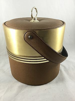 Ice Bucket Vintage Mid-Century Faux Leather & Brass w/ tongs Retro Barware