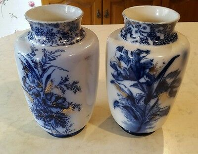 A Pair of Antique Blue and White Floral Design Vases Of T.FORESTER & SONS