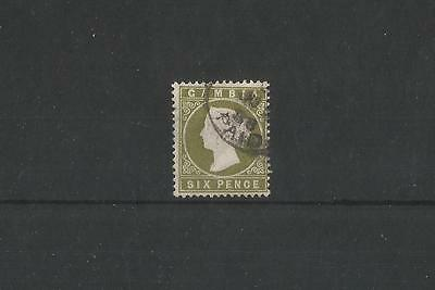 GAMBIA SG33A, 6d CROWN CA 'SLOPING LABEL' VARIETY FINE USED, CAT £100