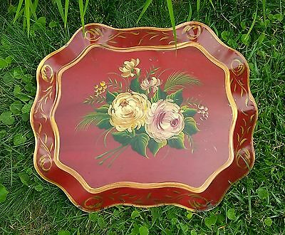 Antique Vintage Tole Painted Red Floral Chippendale Style Large Metal Tray