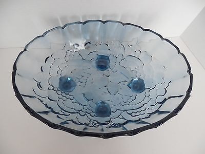 Large oval blue pressed glass bowl