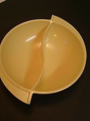 "Vintage Mid-Century 8"" Boonton Yellow Divided Yin Yang Melamine Melmac Bowl"