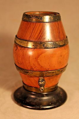 Mid Victorian Yewwood Brass Bound Treen String Barrel c. 1860
