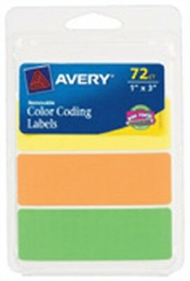 "Avery 06722 1"" X 3"" Color Coding Labels Assorted Neon Colors 72 Count Pack of 6"