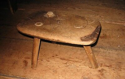 Early 18th c three legged stool primitive  used by the hearth