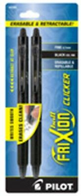 Pilot 31460 Black Frixion Clicker Erasable Gel Ink Pen 2 Pack