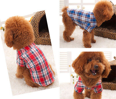 Small Dog Pet Puppy Apparel Plaid Shirt Clothing Coat Pet Clothes  Hoodie