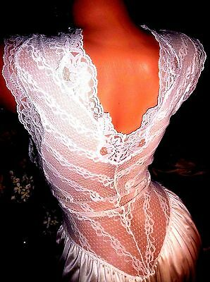 Vtg Silky Spandex Lace French Tie Sheer Plunge Nightgown Gown Cap Slv Nighty M/l