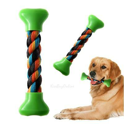Plastic Cotton Rope Braided Bone Chew Knot Toy Pet Dog Puppy Cat Training Dental