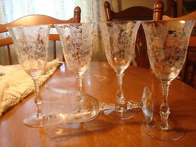 "5 Rosepoint 8 3/8"" Water Goblets, Stems by Cambridge, Line 3121, 1935 - 1954"