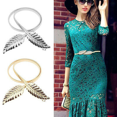 Vintage Women Metal Leaves Elastic Stretch Waist Belt Strap Cummerbund Waistband