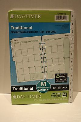 2017 Day Timer Traditinal Monthly Tabbed calendar planner pages 5 7/16 x 8.5 in