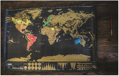 World Map Scratch Off Deluxe Travel Personalized Colourful Interactive Journal