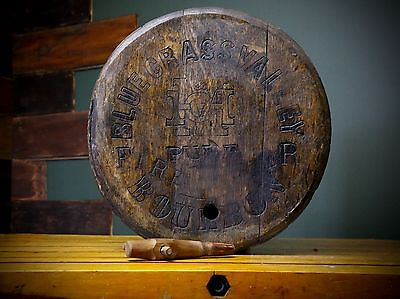 Vintage Blue Grass Valley Fire Bourbon Whiskey Barrel Wood Head Top Sign RARE
