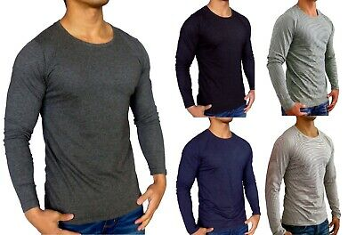 Mens Plain Long Sleeve T Shirt Slim Fit Casual Gym Fashion Indigo Blue Black