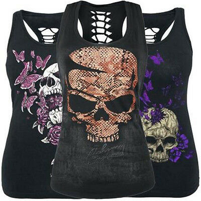 Women Summer Skull Print Sleeveless Slim Fit Hollow Out Tank Top Vest Steady