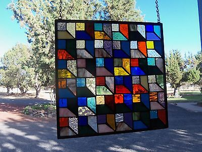Quilt Pattern Stained Glass Window with great bold array of colors